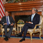 U.S. Secretary of State John Kerry meets with Russian Foreign Minister Sergey Lavrov at the U.S. Ambassador's residence in Rome, Italy, on Dec. 14, 2014. (State Department photo)