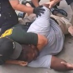 Eric Garner being put in a chokehold by New York City police shortly before his death.