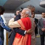 President Obama greets Prime Minister Narendra Modi of India as he and First Lady Michelle Obama arrive at Air Force Station Palam in New Delhi, India, Jan. 25, 2015. (Official White House Photo by Pete Souza)