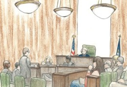 Courtroom sketch of Jeffrey Sterling trial by Debra Van Poolen (http://www.debvanpoolen.com/)