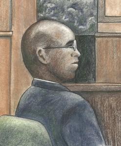 Courtroom sketch of former CIA officer Jeffrey Sterling by Debra Van Poolen (http://www.debvanpoolen.com/)