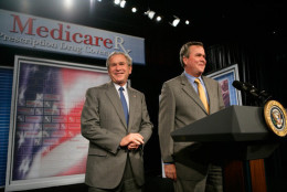 President George W. Bush is introduced by his brother Florida Gov. Jeb Bush before delivering remarks at Sun City Center, Florida, on May 9, 2006. (White House photo by Eric Draper)