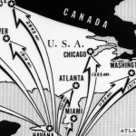 In October 1962, Americans were terrified over Soviet missiles in Cuba, as this newspaper map showing distances between Cuba and major North American  cities demonstrates.