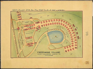 A map of Freedman's Village, on the north side of Columbia Pike.
