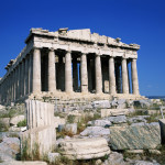 The Parthenon in Athens, standing atop the Acropolis.
