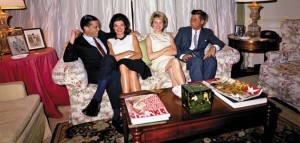 Ben Bradlee (left) and his then-wife Tony Bradlee (second from right) with President John and Jackie Kennedy after a White House function. (Photo credit: JFK Library)