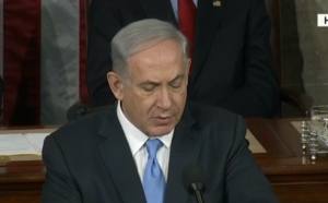 Israeli Prime Minister Benjamin Netanyahu speaking to a joint session of the U.S. Congress on March 3, 2015, in opposition to President Barack Obama's nuclear agreement with Iran. (Screen shot from CNN broadcast)