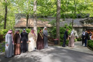 President Barack Obama shakes hands with His Highness Sheikh Sabah Al-Ahmad Al-Jaber Al Sabah, Amir of the State of Kuwait, as Gulf Cooperation Council (GCC) leaders prepare to have a group photo with the President outside of the Laurel Cabin at the conclusion of a summit meeting at Camp David, Maryland, May 14, 2015. (Official White House Photo by Pete Souza)