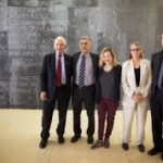 Daniel Ellsberg, Norman Solomon, Jesselyn Radack, Coleen Rowley and Thomas Drake on June 7, 2015, in front of Benjamin Franklin dedication of Kongresshalle in Berlin, Germany. (Photo credit: Johanna Hullar)