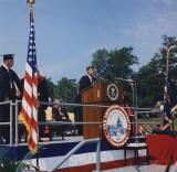 President John F. Kennedy at the American University commencement on June 10, 1963.