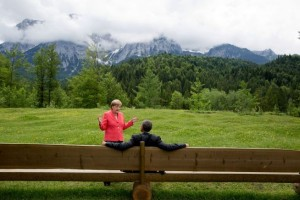 President Barack Obama talks with German Chancellor Angela Merkel at the G7 Summit at Schloss Elmau in Bavaria, Germany, June 8, 2015. (Official White House Photo by Pete Souza)