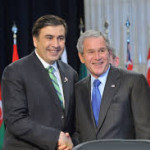 Mikheil Saakashvili, President of Georgia and U.S. President George Bush at a NATO meeting. (Photo credit: NATO)