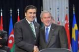 Mikheil Saakashvili, President of Georgia and U.S. President George Bush at a NATO meeting. (Photo credit: NATO)