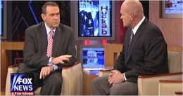 "Former Arkansas Gov. Mike Huckabee, left, interviewed Samuel Wurzelbacher (aka ""Joe the Plumber"") on his Fox News Channel program in 2009."