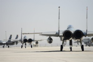 F-15 Eagles from the 493rd Fighter Squadron at Royal Air Force Lakenheath, England, taxi to the runway during the final day of Anatolian Eagle June 18, 2015, at 3rd Main Jet Base, Turkey. The 493rd FS recently received the 2014 Raytheon Trophy as the U.S. Air Force's top fighter squadron. (U.S. Air Force photo/Tech. Sgt. Eric Burks)