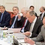 Secretary of State John Kerry and other negotiators from the P5+1 at a meeting in Vienna, Austria, on July 6, 2015, on the Iran nuclear talks. (State Department