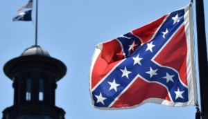 Confederate battle flag flying on the grounds of the South Carolina Statehouse.