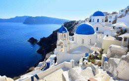 A scene in Santorini in the Greek islands.