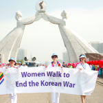 Women Cross DMZ walk in Pyongyang, North Korea at the Monument of Reunification  (Photo by Niana Liu)