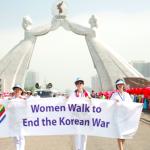 Women Cross DMZ walk in Pyongyang, North Korea at the Monument of Reunification  (Photo by Niana Liu)