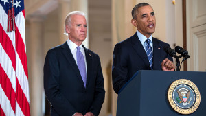 President Barack Obama, with Vice President Joe Biden, announcing the signing of the Iran-nuclear agreement on July 14, 2015. (White House photo)