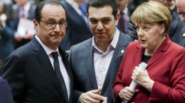 Greek Prime Minister Alexis Tsipras (center) with French President Francois Hollande (left) and German Chancellor Angela Merkel (right).