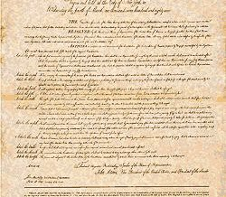 The first ten amendments to the U.S. Constitution, known as the Bill of Rights.