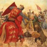An image of a Crusader killing a Muslim.