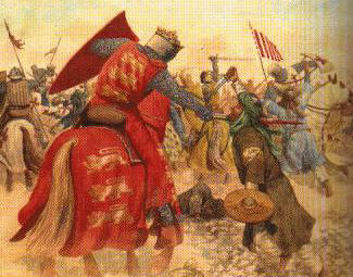 An image of a Crusader killing a Muslim.