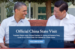 A screen shot of the White House home page on Sept. 25, 2015, noting the summit with China's President Xi Jinping by showing an earlier meeting between Xi and President Barack Obama.