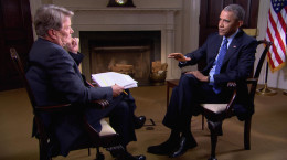 "President Barack Obama being interviewed by Steve Kroft of CBS' ""60 Minutes."" [Photo credit: CBS News]"