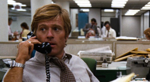 """Robert Redford portraying Bob Woodward in """"All the President's Men."""""""