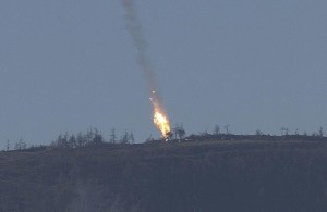 Video of the Russian SU-24 exploding in flames inside Syrian territory after it was shot down by Turkish air-to-air missiles on Nov. 24, 2015.
