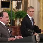 President Obama holds a joint press conference with President Hollande of France in the East Room of the White House on November 24, 2015. (Photo credit: Whitehouse.gov)