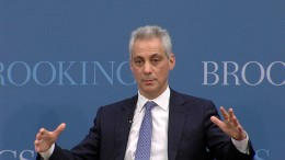 Chicago Mayor Rahm Emanuel speaking at a Brookings Institution event.
