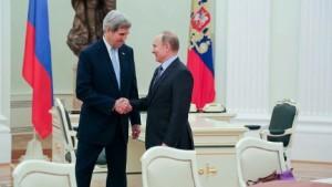 Russian President Vladimir Putin greets Secretary of State John Kerry before meetings at the Kremlin on Dec. 15, 2015. (State Department photo)