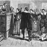 "A drawing of the Salem ""witch trials,"" with the central figure believed to be Mary Walcott."