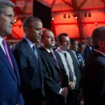 President Barack Obama, Secretary of State John Kerry and other heads of state and delegations, observe a minute of silence for the Paris attack victims during the opening ceremony of the 21st Conference of the Parties to the United Nations Framework Convention on Climate Change (COP21), at the Parc des Expositions du Bourget in Le Bourget, Paris, France, Nov. 30, 2015. (Official White House Photo by Pete Souza)