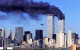 The second plane about to crash into the World Trade Center towers in New York City on Sept. 11, 2001.