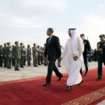 President Barack Obama walks past a military honor guard formation during an arrival ceremony at King Khalid International airport in Riyadh, Saudi Arabia, March 28, 2014 (Official White House Photo by Lawrence Jackson)