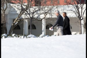 President Barack Obama walks with Chief of Staff Denis McDonough on the South Drive of the White House, Jan. 25, 2016. (Official White House Photo by Pete Souza)
