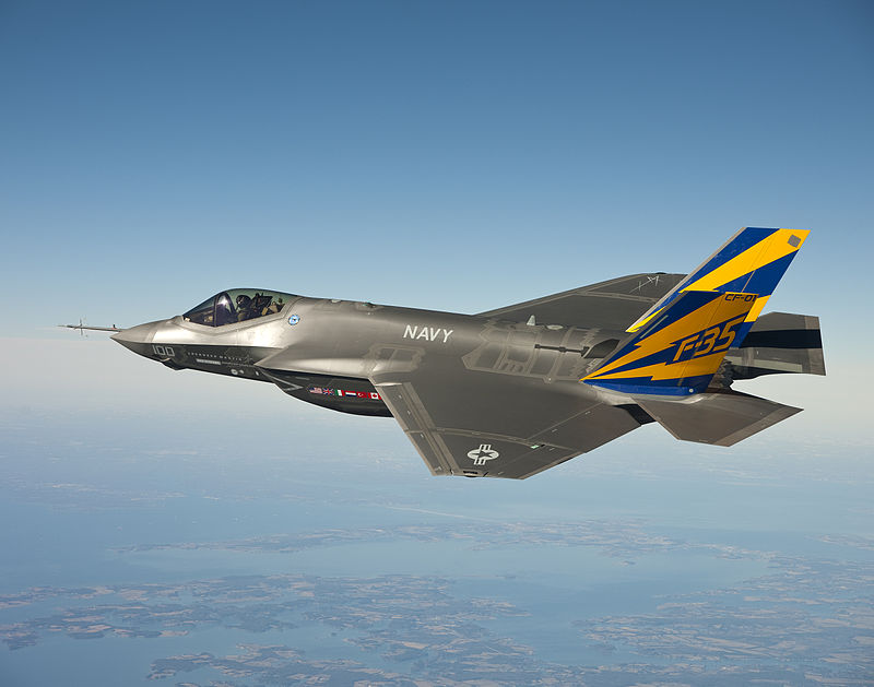 The U.S. Navy variant of the F-35 Joint Strike Fighter in a test flight over the Chesapeake Bay. [Defense Department photoe]