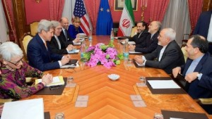 Secretary of State John Kerry and his team of negotiators meeting with Iran's Foreign Minister Javad Zarif and his team in Switzerland on March 26, 2015. (State Department photo)