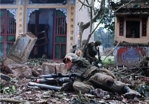 A US Marine pinned down by North Vietnamese Army sniper fire in the Citadel 1968 at Tet. (Photo credit: Don North)