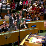 President Barack Obama addresses the United Nations General Assembly on Sept. 24, 2014. (Screenshot from White House video of speech)