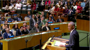 President Barack Obama addresses the United Nations General Assembly on Sept. 24, 2014. (Screenshot from White House video of speech)