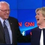 Sen. Bernie Sanders and former Secretary of State Hillary Clinton at a Democratic presidential debate sponsored by CNN.