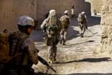 U.S. Marines patrol street in Shah Karez in Helmand Province, Afghanistan, on Feb. 10. (U.S. Marine Corps photo by Staff Sgt. Robert Storm)