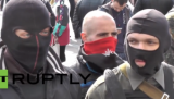 Far-right militia members demonstrating outside Ukrainian parliament in Kiev. (Screen shot from RT video via YouTube video)