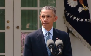 President Barack Obama announces at the White House a framework agreement to restrict Iran's nuclear program on April 2, 2015. (Screen shot from White House video.)